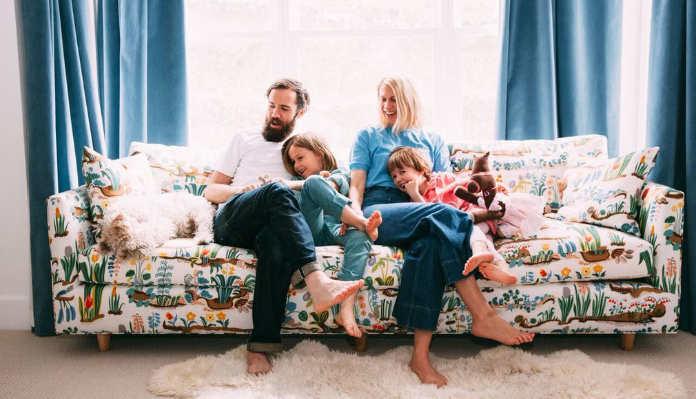 The Coleman Family On The Sofa, With Upholstered Primavera Fabric By Josef  Frank.