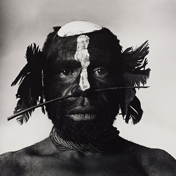 "Irving Penn, ""Tribesman with Nose Ornament (New Guinea, 1970)"""